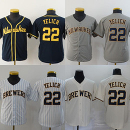 Discount baseball jerseys milwaukee Youth Milwaukee 22 Christian Yelich Jersey Kids All Stitched Baseball Jerseys Cheap Cream White Grey Navy Fast Shipping