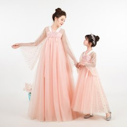 mother daughter match clothing UK - Hanfu Mother Daughter Pink Dresses Wedding Clothes Mom and Me Dress Ball Gown Mum Girls Dress 2020 Family Match Outfits S974