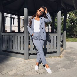 Ol Work Suits Australia - Work Pant Suits Ol 2 Piece Sets Double Breasted Striped Blazer Jacket & Zipper Trousers Suit For Women Set Feminino Spring J190618