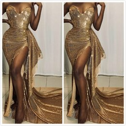 gold purple aso ebi NZ - 2019 Arabic Aso Ebi Gold Cheap Sexy Evening Dresses Sweetheart High Split Prom Dresses Sequined Formal Party Second Reception Gowns ZJ264