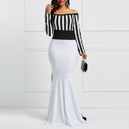 $enCountryForm.capitalKeyWord Australia - Clocolor Sheath Dress Elegant Women Off Sholuder Long Sleeve Stripes Color Block White Black Bodycon Maxi Mermaid Party Dress