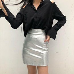 Color Leather Bags Australia - New Spring and Summer Women's Skirt Slim Fit High Waist Silver A-line skirt Bag hips Bright PU leather Skirt