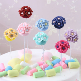 $enCountryForm.capitalKeyWord NZ - Lovely 8 Colors Plastic Floral Cupcake Topper Wedding Decoration Centerpieces Kitchen Accessories Home Decor Party Supplies