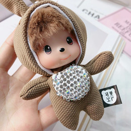 Doll Rabbit Long Ear Australia - New cloth art long ear rabbit key chain pendant cute dolls creative key chain female gifts