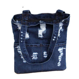 $enCountryForm.capitalKeyWord Australia - good quality Denim Tote Bag Casual Pastel Light Blue Jean Fabric Top Handle Zipper Cute Front Pocket Shopping Book School Handbags