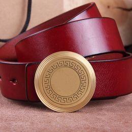 Best Leather Belts For Men NZ - Business Casual Mens belt Pure Copper Buckle Gentry Belts Leather Belt Men Best For Friends Gift Designer Belt