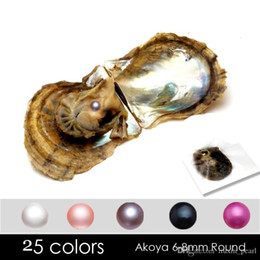 2020 DIY 6-7mm Seawater akoya oyster with Single pearls Mixed 25 colors Top quality Circle natural pearl in Vacuum Package For Jewelry Gift on Sale