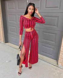 Quarter Suits Australia - Sexy Striped Streetwear Two Piece Set Women Squre Collar Three-Quarter Sleeve Crop Tops And One Side Slit Wide Leg Suits YS200H