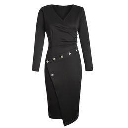 $enCountryForm.capitalKeyWord UK - Time Women's Clothes Skirt 2018 New Pattern V Collar Long Sleeves Asymmetric Dress Middle Length Paragraph 610942 C19031801