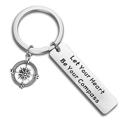 compass charm wholesale UK - wholesale 10pcs lot Let Your Heart Be Your Compass Engraved charm pendant key chain Inspirational keyring jewelry Best Friends jewelry gift