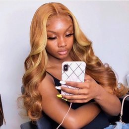 $enCountryForm.capitalKeyWord Australia - New style Malaysian full lace human hair wigs #27 body wave honey blonde lace front human hair wigs with baby hair for women