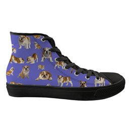$enCountryForm.capitalKeyWord Australia - Customized Flats High Top Canvas Women Shoes Funny 3D Animal Bulldog Prints Casual Lace Up Vulcanized Shoes for Female Zapatos