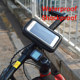 Wholesale Bicycle Motorcycle Phone Holder telephone Support For Moto Stand Bag For Iphone X Plus S10 GPS Bike Holder Waterproof Cover case