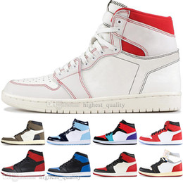 rhinestone high top sneakers 2019 - High Quality 1 High OG Travis Scotts Cactus Jack UNC Spiderman Mens Basketball shoes 1s Top 3 Banned Bred Toe Men Sports