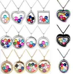 "Magnetic Pendant Necklaces NZ - 20 Styles 8-10mm Pearl Beads Cage Colored Geometry Magnetic Glass Floating Locket Pendants Women Charms 20"" Stainless Steel Necklace"