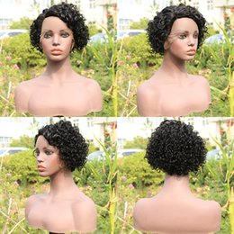 short human hair wig curls Australia - Short Curly Bob Wig L Part Pixie Cut Brazilian Remy Human Hair Lace Front Wigs For Black Women Natural Curls Glueless Closure Wig