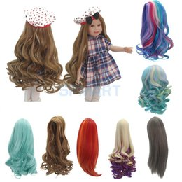 "curly doll hair Australia - 7 Options Fashion Curly Straight Long Hair Replacement Wig for 18"" American Girl Dolls DIY Making Repair Accessories"