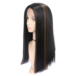 long straight dark brown wigs Australia - Black Bleaching Dyeing,#4 Synthetic Lace Front Wig Long Straight Synthetic Hair Simulated Human Hair Ombre Dark Brown Synthetic Lace Wig