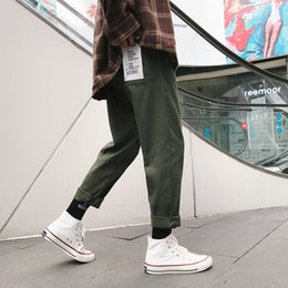 $enCountryForm.capitalKeyWord NZ - 2018 Autumn And Winter Youth Men's Casual Loose Korean Version Of Straight Solid Color Pocket Patch Overalls