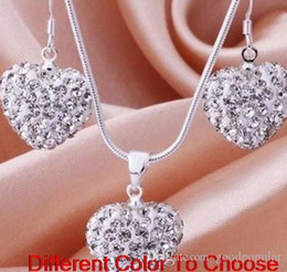 china drop beads NZ - hotsale best wedding white lowest price Mixed Colors beads clay heart silver plated crystall Crystal necklace pendant drop earring m3535