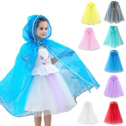 14 Colors Baby Hooded Cloak Cloak Sequin Cape Kids Cosplay Costume Children Cartoon Capes Princess Veil Birthday Party Halloween Poncho Free on Sale