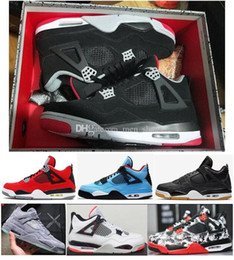 Discount basketball court lights - Best Quality 4s 2019 Bred White Cement Cactus Jack Toro Bravo Basketball Shoes Men 4 Tattoo Fire Red Singles Day Sneaker