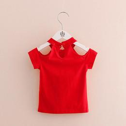 $enCountryForm.capitalKeyWord Australia - Cotton Summer Girls T Shirt Off Shoulder Red Black O Neck T-shirts Kids Top Tee Girl Children Clothes Baby 2-7t