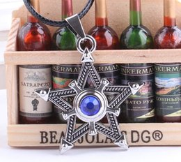 Rope Pendant Crosses Wholesale Australia - Anime Jewelry Black Rock Shooter Pentacle Necklace Jewelry Blue Star Magic Cross Pendant Men Vintage Rope Chain Necklace