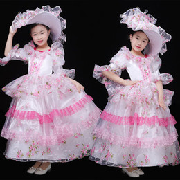Blue Hair Costumes Australia - 100real children's girls flower lace ruffled sleeve ball gown with hat stage costume renaissance gown dress with hair decoration