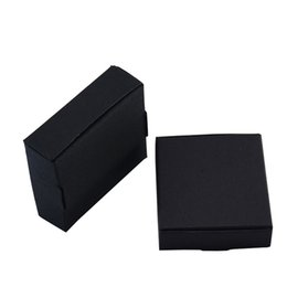 Kraft Jewelry Gift Boxes UK - 6.4*6.4*2.8cm 50pcs lot Black Kraft Paper Gift Carton Boxes Party Favors Soap Storage Boxes Wedding Party Candy Box Jewelry Package Box