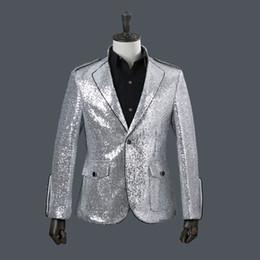 Discount dj stands - 2019 new men's personality sequins stand collar suit men's stage DJ singer costume dress mens blazer suit