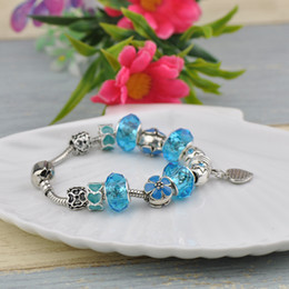 $enCountryForm.capitalKeyWord Australia - Translucent Glass Beads Fit Pandora Charm Bracelets Bangles Heart Pendant Turquoise Crystal Beaded Women Brand Silver Alloy Jewelry P48