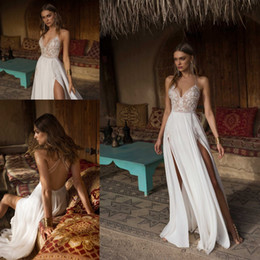 Spaghetti Side Slit lace online shopping - 2019 Spaghetti Straps Chiffon A Line Beach Wedding Dresses Lace Applique Beaded Criss Cross Split Bohemia Wedding Bridal Gowns