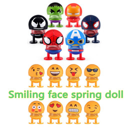 $enCountryForm.capitalKeyWord Australia - Marvel The Avengers Shaking Head Smiling Face Spring Doll Car USE Ornaments QQ Expression Pack Noverty Funny Toys Gift Decoration