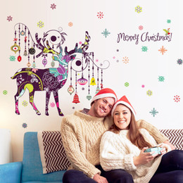 christmas toilet sticker Australia - 20190621 Christmas color deer Nordic living room sofa bedside corner entrance Christmas decorations wall paste new wallpaper decoration