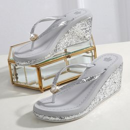 flip flop bling NZ - Open Toe High Wedges Women Platform Flip Flops Bling Outside Slippers Women Bordered Beach Ladies Shoes