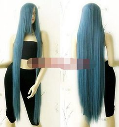$enCountryForm.capitalKeyWord Australia - parrucche Ex-Long Bang Grey Blue Straight Cosplay Wig for women wig Free deliver