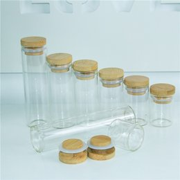 ceramic jar wholesale Australia - 10ml 15ml 20ml 25ml 35ml 40ml 50ml Glass Bottle with Bamboo Lid Empty Leak proof Airtight Food Storage Clear Bottle Jars 50pcs