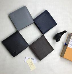 Discount black folding phone - M62664M60895 M326062019 New Mini Short Wallet Brown Grid Flower Black Grid Canvas With Leather Men's Bi-Fold Mult