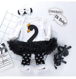 $enCountryForm.capitalKeyWord Australia - Cute Baby Girl Cartoon Swan Tutu Dresses 0-24 Month Newborn Infant Designer Romper Skirt Cotton Skirt+Headband+Shoes+Leg Warmers=4PCS Set