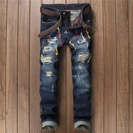 $enCountryForm.capitalKeyWord NZ - 2019 European Style Men's Painted Skinny Slim Fit Straight Ripped Hole Distressed Blue Denim Pants No Stretch Motorcycle Jeans