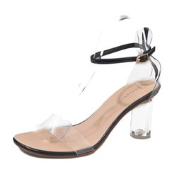 9723a807a5b Women Sexy Transparent Sandals Shoes Ladies Fashion Ankle High Heels Block  Party Open Toe Shoes Female Summer New Sexy Sandals