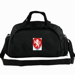 men duffle bag backpack UK - Czech duffel bag Republic national tote Lion football badge backpack Country team luggage Soccer sport shoulder duffle Outdoor sling pack
