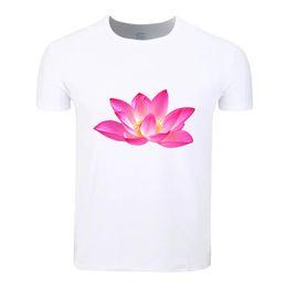 China Lotus Flower Cotton Students Summer T-Shirt Custom Casual Short Sleeve Men Women Boys Girls T Shirt Tees Kids Tshirt cheap flower lotus orange suppliers
