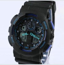 wholesales g shock watches Australia - 1pcs New Hot Red dual display sports running watch big ga100 G Black Display LED Fashion army military shocking watches men Watches Cas100