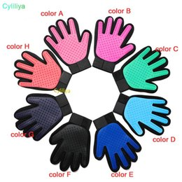 violet hair UK - Silicone Pet Dog brush Glove Deshedding Gentle Efficient Pet Grooming Glove Dog Bath Cat cleaning Supplies Pet Glove Hair Remove