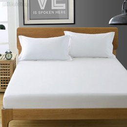$enCountryForm.capitalKeyWord NZ - Home Textile Pure White Color Cotton Fitted Sheet Bed Sheet with Elastic Mattress Cover Linen Bedspread Twin Full Queen KingSize