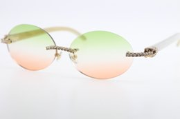 $enCountryForm.capitalKeyWord Australia - Wholesale Sunglasses diamond Rimless White Genuine Natural Horn Sunglasses T3524012 Stone Glasses Oval Unisex GHot