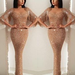 59ba93309d 2019 Mermaid Sequins Prom Evening Dress Tassel Sweetheart Sparkly Formal  Party Gown Gold Pregnant Dresses Custom Made Plus Size
