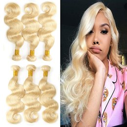 brazilian human hair for weaving Australia - Wholesale 613# Blonde Bundles Human Hair Body Wave Brazilian Virgin Hair Bundles Deals for Black Women Can Be Byed